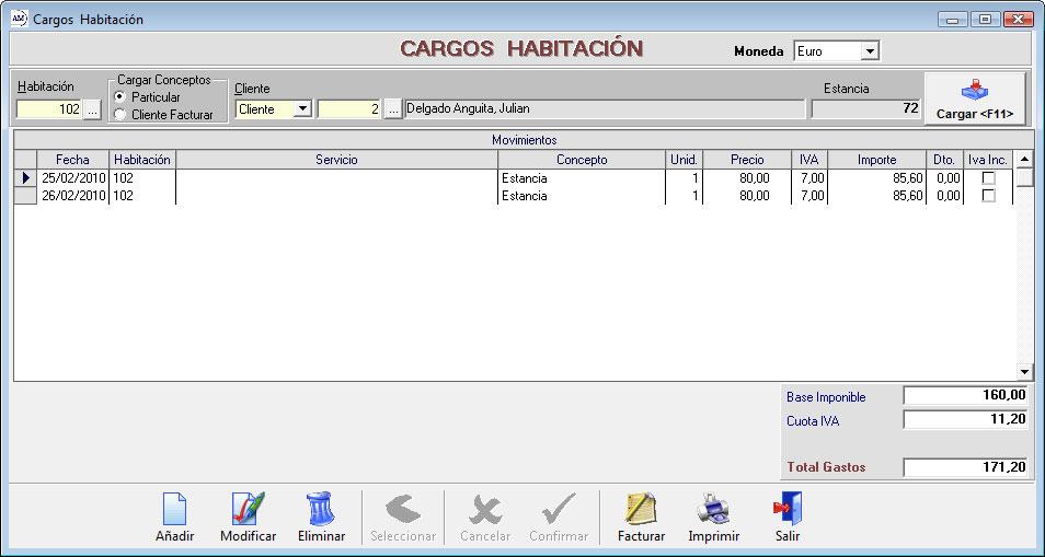 Cargos Habitación/Cliente
