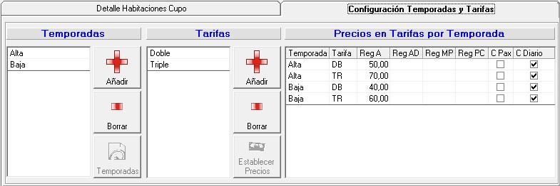 Configuracion Tarifas Cupos