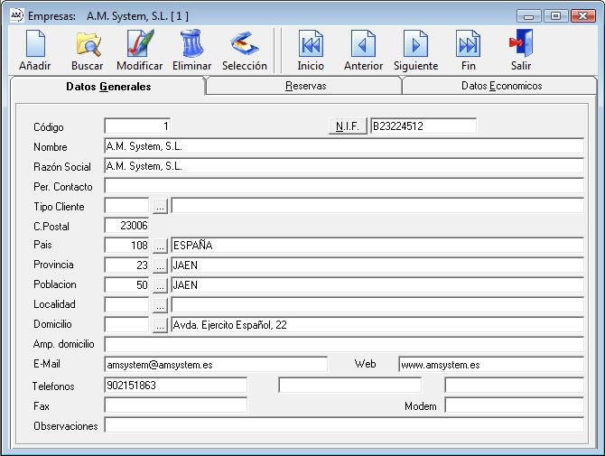 Datos Generales Empresas