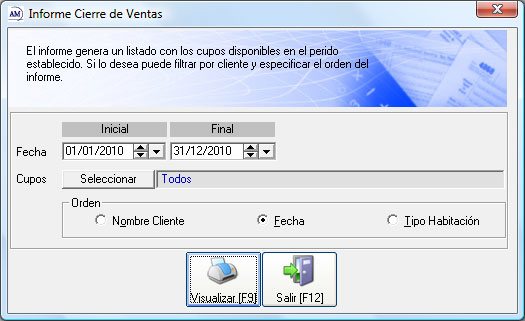 Informe cierre de Ventas