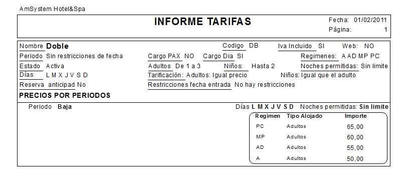 vista previa informe tipo tarifa